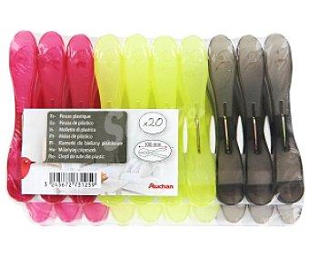 Auchan Pinzas ropa de plástico gigantes 20 Unidades
