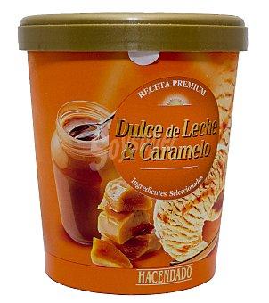 Hacendado Helado bote dulce de leche y salsa caramelo receta premium Bote 350 g