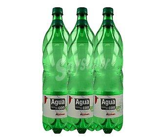 Auchan Agua mineral con gas 6 unidades de 1,25 litros