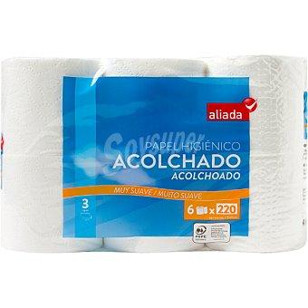 Aliada Papel higiénico acolchado 3 capas muy suave Paquete 6 rollos