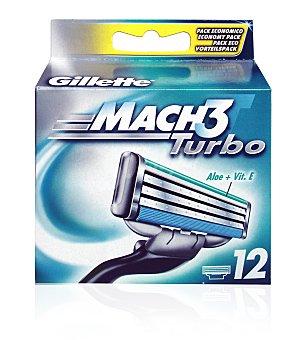 Gillette Recambio mach3 turbo 12 ud