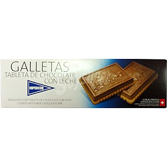 Hipercor Galletas con tableta de chocolate con leche Estuche 125 g