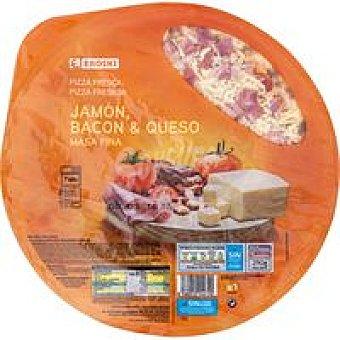 Eroski Pizza de jamón bacon queso 1 unid