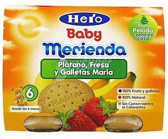 Hero Baby Purè de Frutas de: Plátano, Fresa y Galleta María Merienda