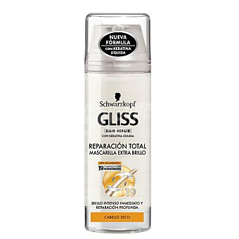 GLISS mascarilla extra brillo regeneración total con keratina líquida para cabello seco  spray 150 ml