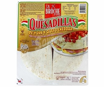 La Broche Quesadillas york/queso Cheddar con salsa 200 Gramos