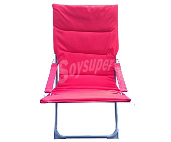 GARDEN STAR Silla plegable para jardín y playa. Fabricada en acero con asiento y reposabrazos de textileno acolchado de color rojo 1 unidad