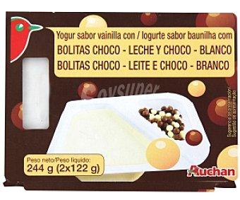 Auchan Yogur bicompartimento sabor vainilla con bolitas choco 2 Unidades de 125 Gramos