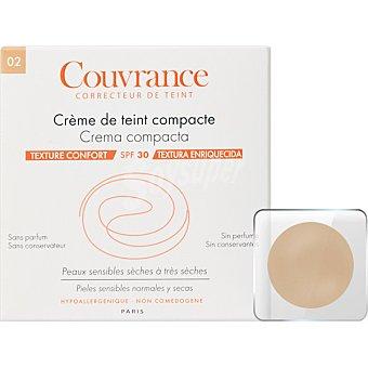 Avène Couvrance Crema compacta SPF30 textura enriquecida sin perfume polvera para pieles sensibles normales y secas color Natural 02 9,5 g