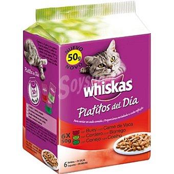 Whiskas Platitos del día selección de variedades de carnes rojas en salsa Pack 6 bolsa 50 g