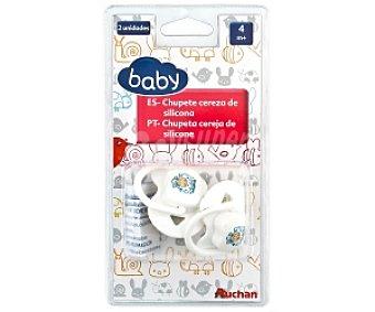 Baby Chupetes cereza de silicona, +4 Meses, Blanco 2 Unidades