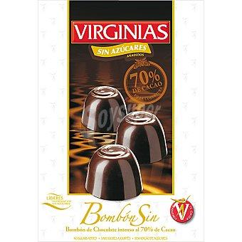 Virginias sin azúcar bombón de chocolate intenso al 70% de cacao Estuche 120 g