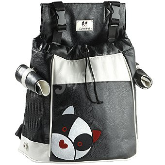 Rokko Mochila para mascotas modelo Logo en color negro y blanco medidas alto delantero 33 cm alto posterior 42 cm y base 24x33 cm