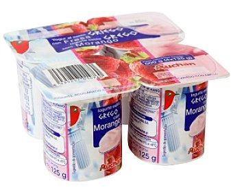 Auchan Yogur Griego azucarado con fresa Pack 4 Unidades de 125 Gramos