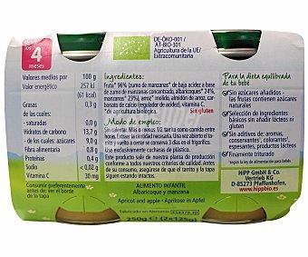HIPP BIOLOGICO Tarritos de albaricoque y manzana ecologicos desde los 4 meses estuche 250 g pack 2x125 g