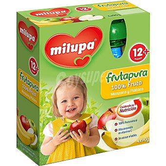 MILUPA FRUTAPURA Puré de manzana y plátano estuche 360 g Pack 4 x 90 g