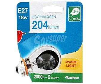 Auchan Bombilla ecohalógena esférica 18W, casquillo E27 (grueso) y luz cálida 1 unidad