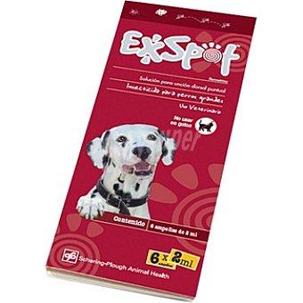 EXSPOT Solución insecticida para perros grandes para unción dorsal envase 6 ampollas Dosis de 2 ml