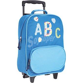 HUAMIN Mochila infantil de abecedario en color azul con ruedas