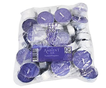AMBIENT AIR Velas calientaplatos o tealights perfumadas con olor a lavanda 50 unidades