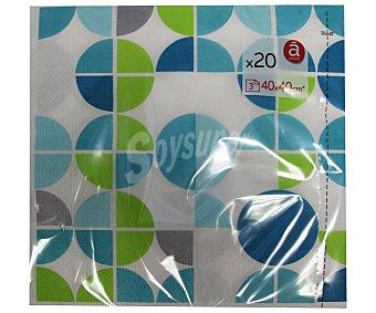 ACTUEL Servilletas de papel con estampado topos geométricos color verde y azul, tres capas, 40x40 centímetros Pack de 20 unidades