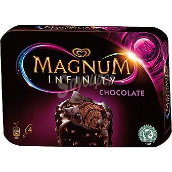 FRIGO MAGNUM Infinity Helado de chocolate negro con salsa de chocolate y trocitos de cacao 4 unidades estuche 400 ml 4 unidades