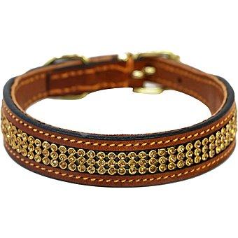 Biozoo Axis Collar para perros de piel con strass marrón 30 cm 1 unidad