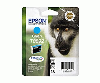 Epson Cartucho Cyan T0892 - Compatible con Impresoras: stylus S / 20 / 21 SX / 100 / 105 / 110 / 115 / 205 / 215 / 218 / 405 / 415 office BX / 300F