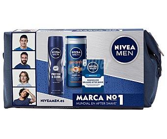 Nivea Estuche de cuidado corporal, incluye neceser, gel de ducha Men Sport, desodorante Protege&Cuida y bálsamo Originals Regenerador 1 unidad
