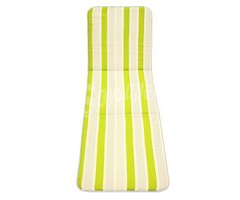 Productos Económicos Alcampo Cojín para tumbona de rayas verdes y grises de 180x54 centímetros, lavable y de gran resistencia al exterior 1 unidad