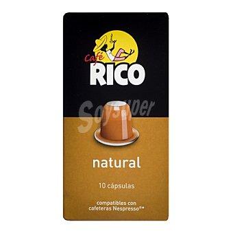 Rico Café natural en cápsulas compatible con Nespresso 10 ud