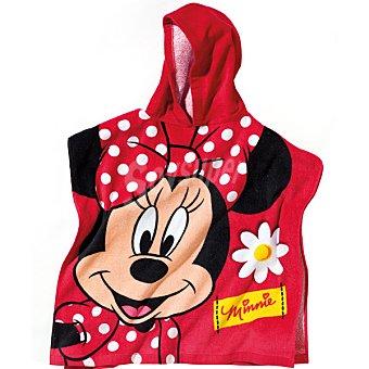 DISNEY Minnie poncho infantil con capucha en color rojo