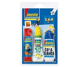IMEDIO Pack con Barra Adhesiva 21gr + Tubo Pegamento Escolar + Cola Blanca Pack con 21