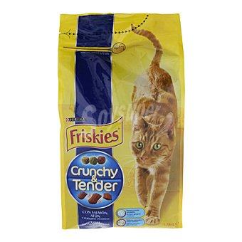 Friskies Purina Comida para gatos Crunch and Tender salmón, atún y vegetales 1.5 kg