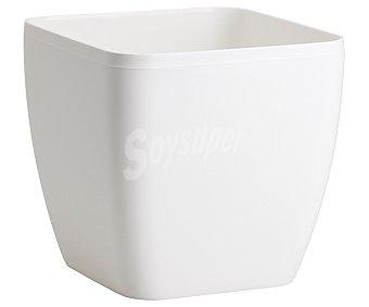 VAN Macetero plástico cuadrado modelo Begoña, liso y en color blanco 1 Unidad
