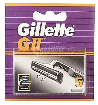Gillette Recambio cuchillas afeitar G II Blister 5 u