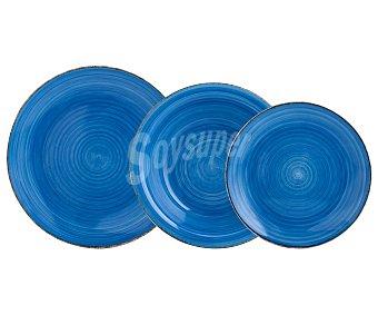 QUID Vita Vajilla completa de 18 piezas, 6 servicios, redonda fabricada en gres color azul, Vita QUID.