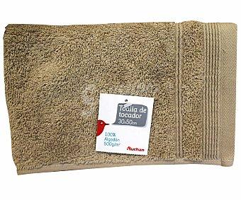 AUCHAN Toalla 100% algodón lisa para tocador, color beige, 30x50 centímetros, densidad de 500 gramos/m² 1 Unidad