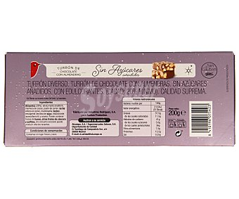Auchan Turrón de chocolate con almendra sin azúcares añadidos,, r 200g