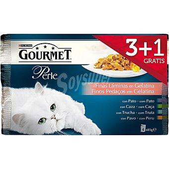 GOURMET PERLE Finas láminas en gelatina para gatos pack 3 unidades + 1 gratis bolsa 85 g Pack 3 unidades