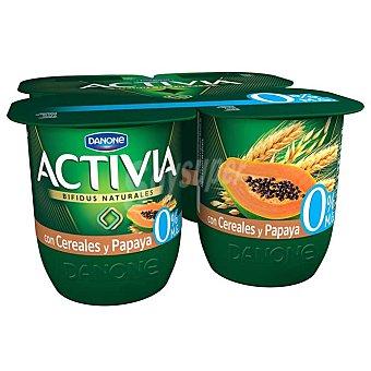 Activia Danone Yogur bífidus desnatado cereales y papaya Pack 4 vasos x 120 g