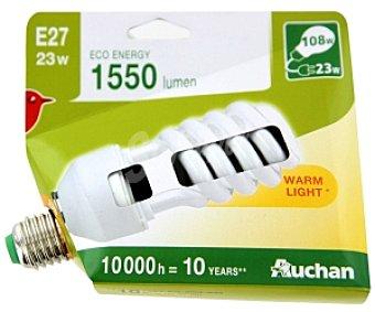 Auchan Bombilla bajo consumo espiral 23 Watios, casquillo E27 (grueso), luz cálida 1 unidad