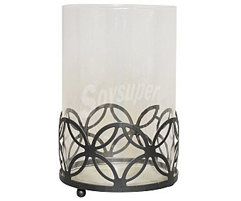 GÓTICA Porta vela con copa modelo Elegance, acabado imitación a forja color negro, 19x12,5 centímetros 1 Unidad