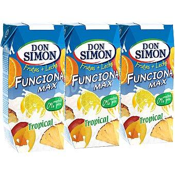 Don Simón Frutas + Leche Funciona Max Tropical con fibra y vitaminas A, C y E Pack de 3