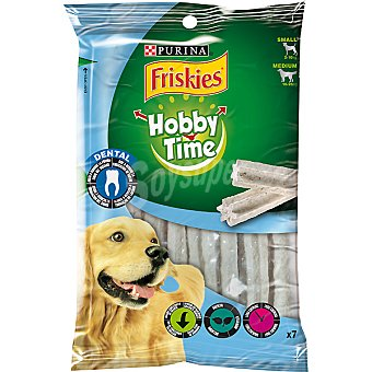FRISKIES HOBBY TIME Barritas para perros de raza pequeña y mediana para la higiene dental paquete 145 g 7 unidades