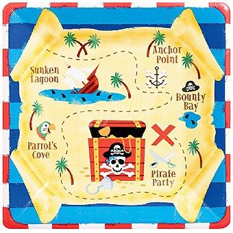 LIRAGRAM Plato cartón decorado Tesoro Pirata 24,5 cm 8 unidades