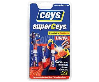 Ceys Adhesivo Instantáneo Transparente Extra-fuerte en Gel. 1 Gramo 3 Unidades