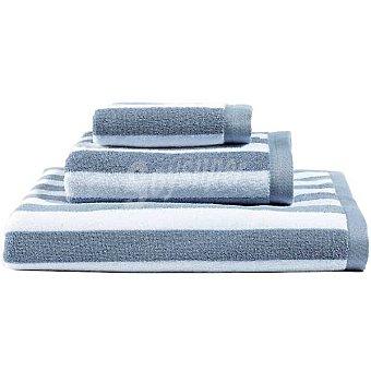 CASACTUAL  Toalla jacquard sábana con rayas en color blanco y gris 1 unidad