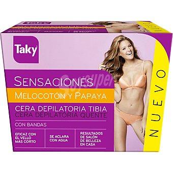 Taky Sensaciones cera depilatoria melocoton y papaya con bandas Tarro 250 ml