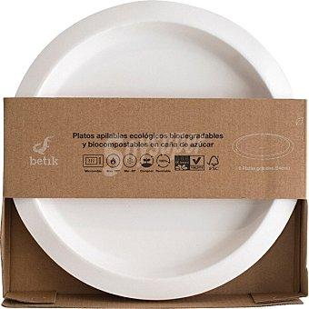 Betik Platos apilables ecológicos biodegradables y biocompostables en caña de azúcar caja 8 unidades tamaño grande 24 cm caja 8 unidades